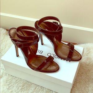 Manolo Blahnik tortoise patent strappy sandals